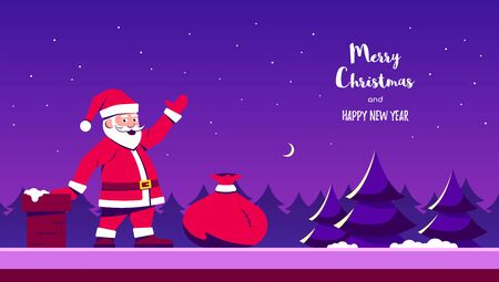 Picture of a Santa on house roof with red gifts bag. Flat style character design. Holiday concept banner.