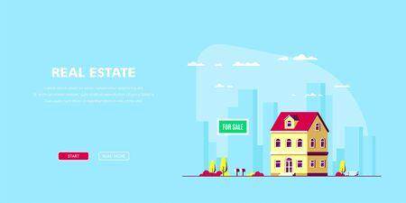 Banner de concepto de bienes raíces. Ilustración vectorial de stock Ilustración de vector
