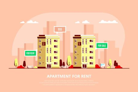 Real Estate Concept Banner. Stock Vector illustration