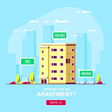 Real Estate Concept Banner in Flat Style. Apparmnet Building in front of Big City. Stock Vector illustration Ilustracja