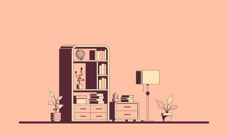 Living room interior, flat style line illustration