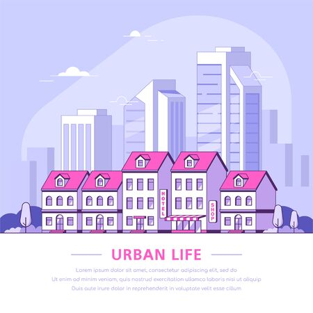 Urban landscape illustration, flat style banner design