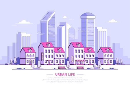 Illustrazione del paesaggio urbano, design di banner in stile piatto Vettoriali
