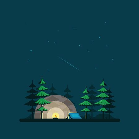 Night landscape illustration in flat style with tent and forest. Background for summer camp, nature tourism, camping or trekking design concept. Ilustrace