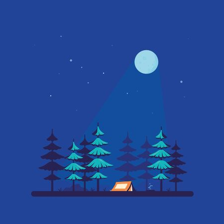 Camping tent in the forest, flat style design Illustration