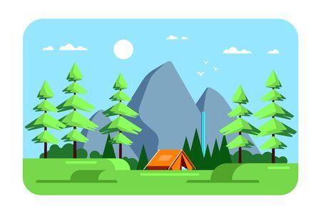 Summer landscape, camping area, flat design illustration