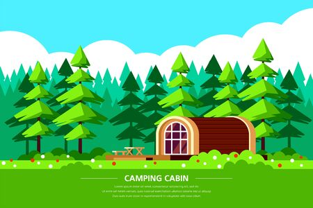 Camping cabin rental banner design. Outdoor recreation, adventures in nature, vacation. Camping, Climbing and Trekking concept. Flat style illustration.
