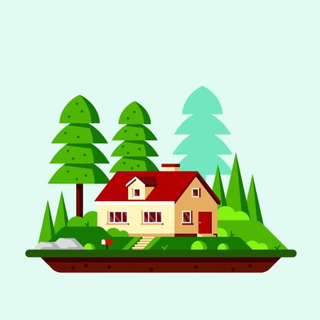 Summer landscape with family cottage house and trees. Family suburban home. Flat style iilustration, banner design.