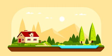 Summer landscape with family cottage house, trees and lake. Family suburban home. Flat style iilustration, banner design.