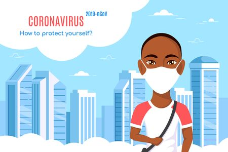 Coronavirus 2019-nCoV information concept banner. How to protect yourself. Young man wearing medical face mask in big city. Flat style illustration.