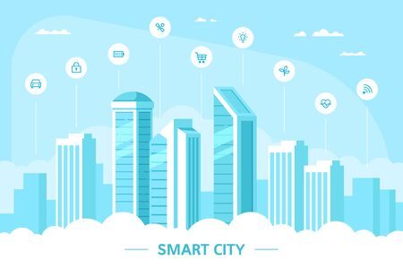 Urban landscape with infographic elements. Smart city concept banner. Modern city. Concept website template in flat style.