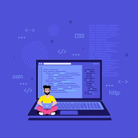 Coding, programming, application development concept. Programmer specialist sitting on the big laptop and working. Flat style banner design
