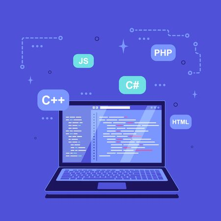 Coding, programming, application development concept. Laptop with development software and programming language signs around. Flat style banner design.