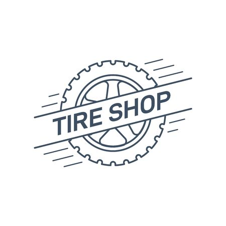 Tire and wheel service badge design, stock vector