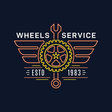 Tire and wheel service badge design, stock vector