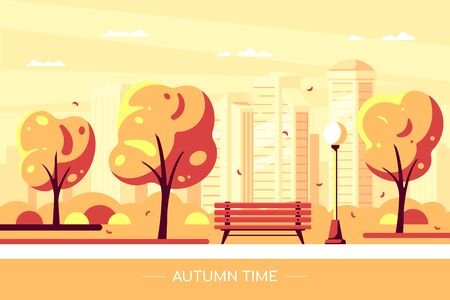 Bench in autumn city park. Vector illustration of autumn city park with tree and big city on background. Hello Autumn concept in flat style.