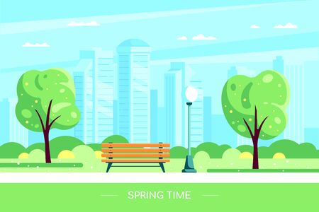 Bench in spring city park. Vector illustration of spring city park with blooming tree and big city on background. Hello Spring concept in flat style.