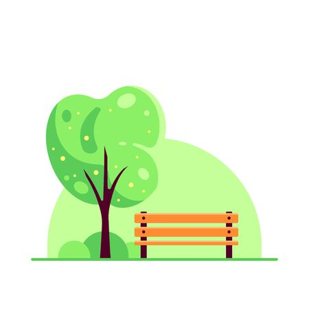 Bench in spring city park with blooming tree isolated on white background. Hello Spring concept in flat style. Иллюстрация