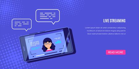 Modern smartphone with online video player on screen. Mobile streaming, live podcast, mobile video, TV concept banner. Flat style vector design.