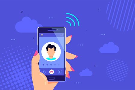 Hand holds smartphone with outgoing call on a screen. Calling service concept. Vector modern illustration for web banners, websites, infographics.