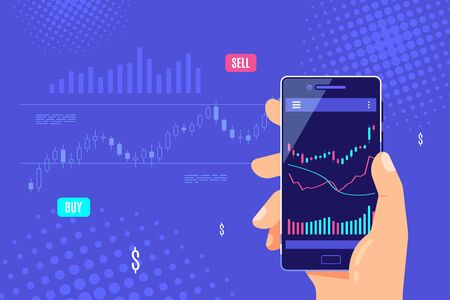 Male hand holding smartphone with candlestick graph on screen. Mobile trading application concept banner design. Flat style vector illustration.