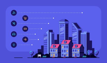 Cityscape with modern Residential Houses and Icons. Smart City Concept Banner Design. Flat style Vector Illustration.