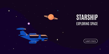 Space banner with starship. Space research concept, exploring outer spase. Flat style vector illustration