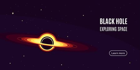Space banner with black hole. Space research concept banner, exploring outer spase. Flat style vector illustration