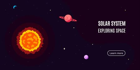 Space banner with star and planets. Space research concept banner, exploring outer spase. Flat style vector illustration