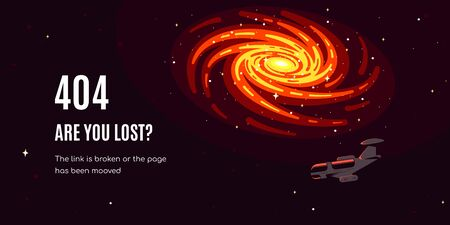 Error 404 page design. Starship on the edge of galaxy ans text - Are You Lost? Flat style vector illustration 向量圖像
