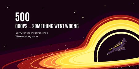 Error 500 page design. Starship falling into a black hole. Flat style vector illustration