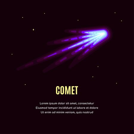 Space banner with comet. Space research concept banner, exploring outer spase. Flat style vector illustration