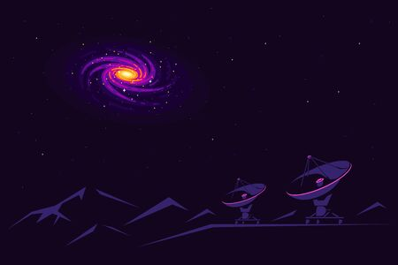 Space banner with radiotelescope and galaxy view in the sky. Space research concept banner, exploring outer spase. Flat style vector illustration