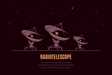 Space banner with radiotelescope. Space research concept banner, exploring outer spase. Flat style vector illustration