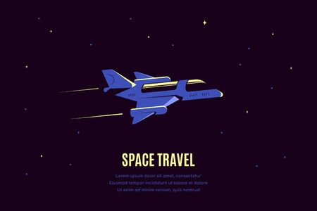 Space banner with starship. Space travel concept banner, exploring outer spase. Flat style vector illustration 向量圖像