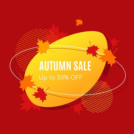 Autumn sale vector banner abstract background design with fall leaves, autumn typography and discount text. Vector illustration.