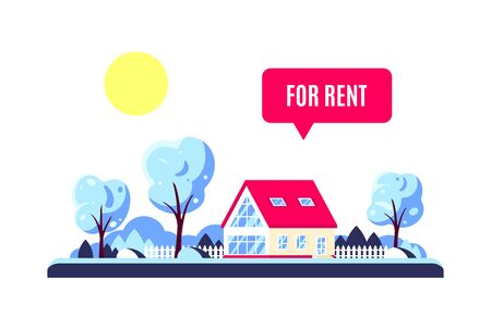 Winter landscape with forest family home, trees, sun and for rent sign. Real estate concept. Vector illustration in flat design style Illustration