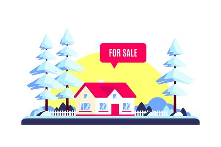 Winter landscape with forest family home, trees, sun and for sale sign. Real estate concept. Vector illustration in flat design style