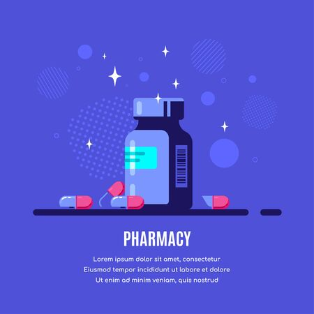 Medicine bottle and pills on blue background. Healthcare, pharmacy, drug store concept banner. Medication, pharmaceutics concept. Flat style illustration.