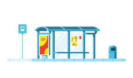 Bus stop with bus stop sign and trash bin on white background. Flat style vector illustration. Illustration