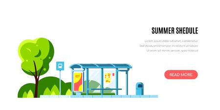 Summer landscape with bus stop and tree on white background. Summer shedule concept banner design. Flat style vector illustration. Иллюстрация