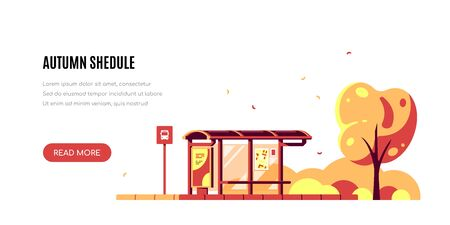 Autumn landscape with bus stop and tree on white background. Autumn shedule concept banner design. Flat style vector illustration. Иллюстрация