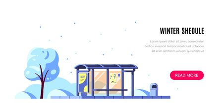 Winter landscape with bus stop and tree on white background. Winter shedule concept banner design. Flat style vector illustration.