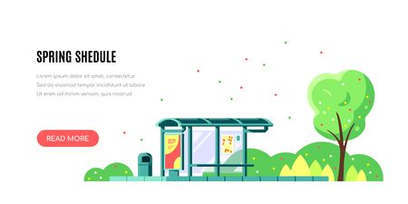 Spring landscape with bus stop and tree on white background. Spring shedule concept banner design. Flat style vector illustration.