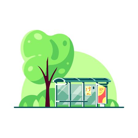 Spring landscape with bus stop and tree isolated on white background. Flat style vector illustration.
