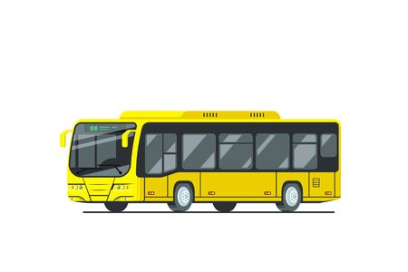 Flat style design of yellow city bus isolated on white background. Vector illustration.