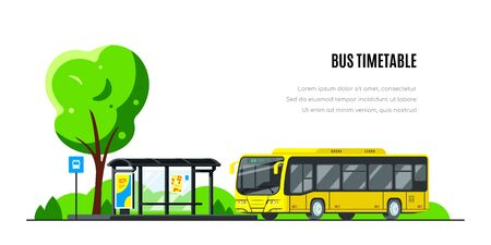 City bus on bus stop. Bus timetable concept banner design. Flat style vector illustration. Иллюстрация