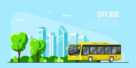 City bus with big city on background. City bus concept banner design. Flat style vector illustration.