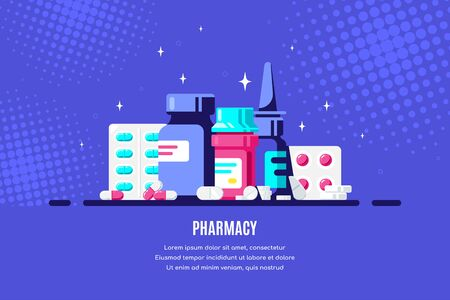 Medicine bottles and pills on blue background. Healthcare, pharmacy, drug store concept banner. Medication, pharmaceutics concept. Flat style illustration.