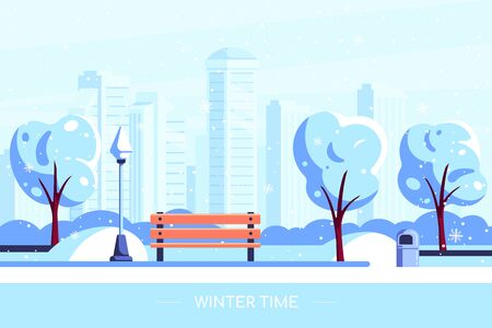 Bench in winter city park. Vector illustration of winter city park with snowy tree and big city on background. Winter holidays concept in flat style.